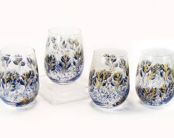 Navy Blue and Gold Stemless Wine Glass Midnight Blue and Gold Roses 50th Anniversary Gift Navy and Gold Blue Gold Gifts Gold Wedding Gifts