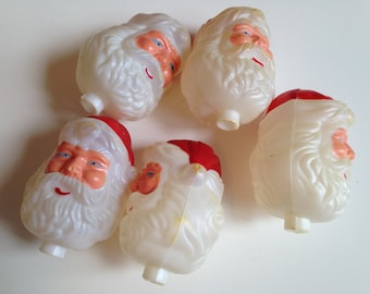 Set of Five Celluloid Santa Heads Christmas  (397)