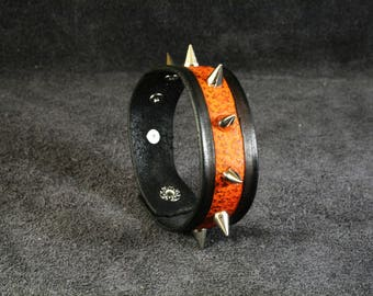 FREE SHIPPING! Leather bracelet with spikes for rockers, punk, goth, heavy metal