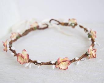 Rustic Cherry Blossom Flower Crown, bridal flower crown, spring wedding, rustic flower crown, floral crown, flowergirl crown - BLOSSOM