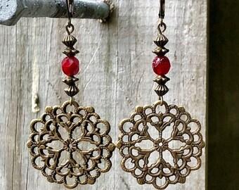 Bronze Earrings, Mandala Earrings, Red Earrings, Rustic Earrings, Nature Earrings, Tribal Earrings Ethnic Earrings, Earthy Earrings, Boho