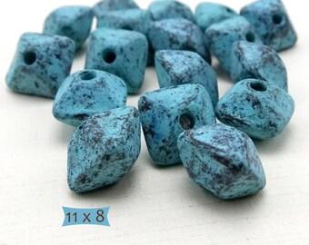 Big Hole Bicone Ceramic Beads Antiqued Blue Patina Glaze--1 Pc.   40-5704GP-1