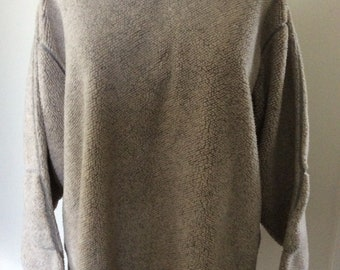 Orvis fleece fishing pullover sweater,beige with top stitching and elbow patches
