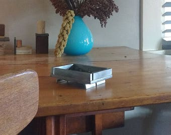 steel tray from offcuts - mini incense temple - modern industrial - salvaged upcycled steel