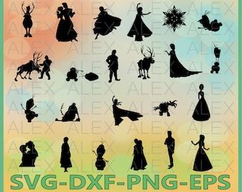 70% OFF, Frozen Silhouettes SVG Files, Frozen Svg Files, Frozen Svg, Dxf, Png, Ai File, Instant Download