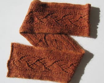 Hand knitted lace scarf, wool acrylic, 2 tones of russet, 14x198cm woman