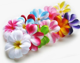 12 Mixed Plumeria Frangipani Heads - Artificial Silk Flower - 3 inches - Wholesale Lot - for Wedding Work, Make Hair clips, headbands, hats