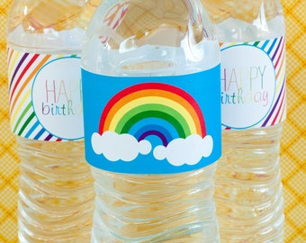 Rainbow Party PRINTABLE Drink Labels (INSTANT DOWNLOAD) by Love The Day