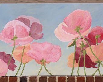 Poppies in the Sun: Original Acrylic Painting on Stretched Canvas, 24x36 inches