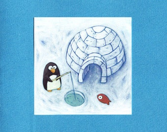 "Penguin ""Igloo gloo"" illustrated greeting card"