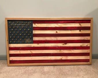Wooden American flag bullet casings