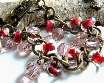 Strawberry Lampwork Bracelet, Rose Swarovski Crystals with Antiqued Brass