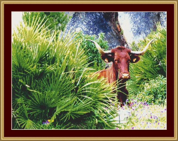 Bull Cross Stitch Pattern /Digital PDF Files /Instant downloadable
