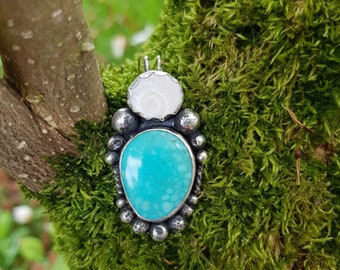 Whitewater Turquoise and Shiva Eye Seashell Sterling Silver Pendant Necklace - mermaid treasure - handmade - boho gypsy