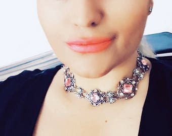Choker Choker necklace Victorian choker pink choker crystal choker  victorian necklace Renaissance Necklace statement necklace