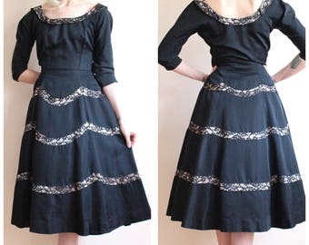 1950s Dress // Silk & Lace Party Dress // vintage 50s dress