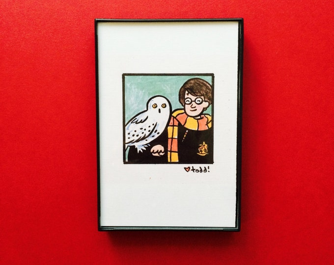 Art, Harry Potter, Print, 4 x 6 inches, Daniel Radcliff, J.K. Rowling, movies, film geek, wizard, framed artwork, illustration, wall decor