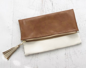 White & Brown Faux Leather Reversible Foldover Clutch - Gift for her, Birthday, Anniversary, Bridesmaid
