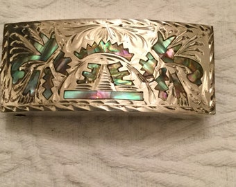 Hecho En Mexico,Sterling silver mosaic inlaid abalone shell belt buckle,