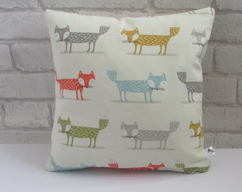 Fox Print Fabric Cushion, Fabric, Cushion, Home Decor, Handmade, Fabric, Home, Home and Garden, Free Postage