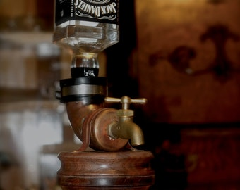 Walnut Liquor Dispenser, whiskey faucet, guy gift, man cave, liquor, wood, barware