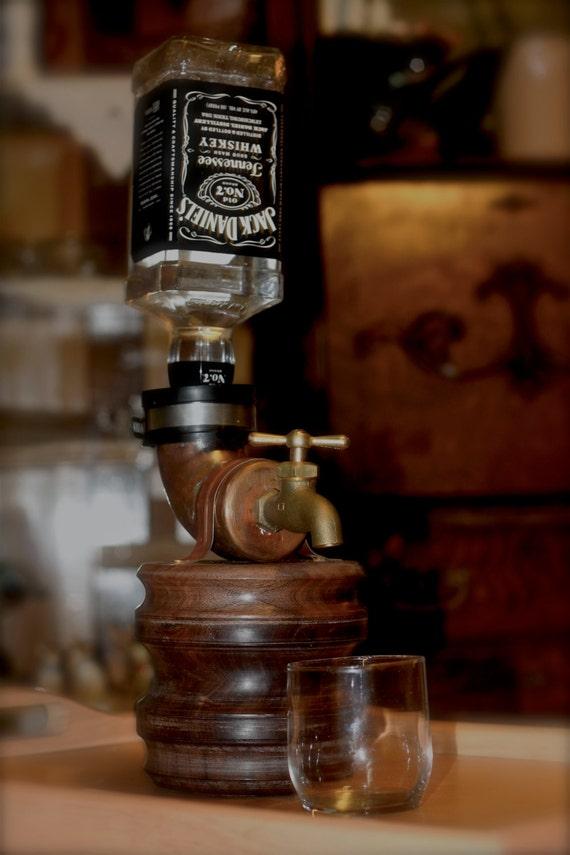 Walnut Liquor Dispenser whiskey faucet guy gift man cave