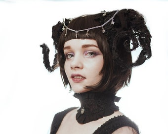 "Hand Crafted ""Decomposing Ram Horns"" embellished with lace,chain and charms. made in any colour/combination colour. Opulent Gothic Fashion"