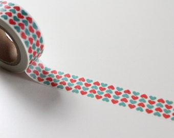 Love Heart Washi Tape, Blue and Red Deco card making tape, Packaging tape
