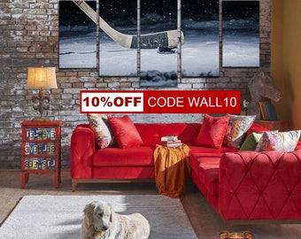 Hockey Canvas Art, Hockey Canvas, Hockey home decor, Sport wall art, Hockey wall decor, Hockey gift, Hockey Canvas Print, Hockey Poster