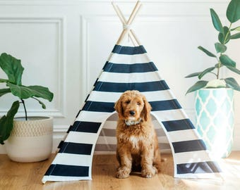 "Striped Dog Teepee, Pet Tent, 36"" x 36"""
