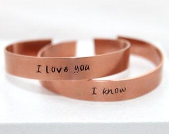 I Love You, I Know, Bracelet Set, Copper Jewelry