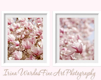 Botanical art prints, pink magnolia flower photography wall art, cottage chic bedroom art set, 2 piece art floral pictures, vertical decor