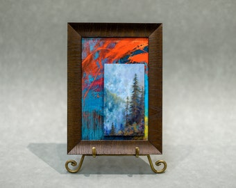 Framed Art Contemporary Abstract Mountain Landscape