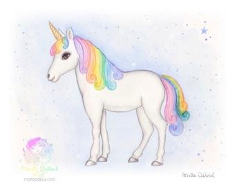 Unicorn art print. Girls room art. Girl nursery art decor. Gift for girl. Unicorn watercolor painting. Unicorn nursery art. Rainbow unicorn.