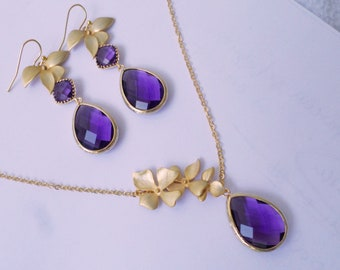 Amethyst Set . Bridal Set. Bridesmaid Gift. Purple Earrings. Purple. Wedding Prom Party. Amethyst Gold Earrings. Purple Necklace