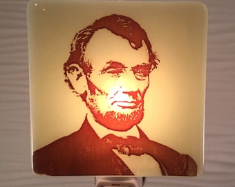 Abraham Lincoln Night Light Fused Glass