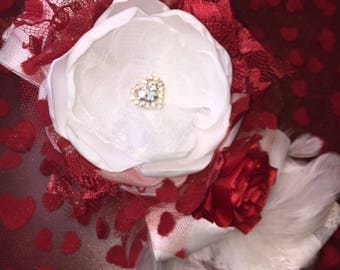 Valentine Baby Girl Flower Headband, Dollcake Headband, Red Flower Headband, Hair Bow, Couture Headband, Lepetitejardin, Valentine Hair Band