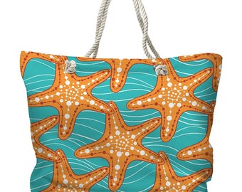 Starfish in Waves Tote Bag, Beach Tote Bag, Coastal Tote Bag, Nautical Tote Bag