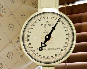 American Family Scale, Vintage Produce Grocery 60 Pound Scale, Kitchen Home Decor, Cream Off-White itsyourcountry