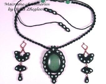 "Macrame set ""Dryad"", dark green pendant and earrings with nephrite"