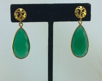 Large Luminous Emerald Green Onyx Pear Drops with golden scrolling Earring posts