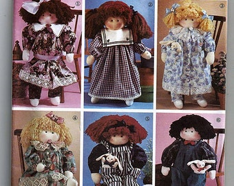Abbies Jiffy 6 Pack  Stuffed Dolls and Clothes / Original Simplicity Crafts Uncut Sewing Pattern 7650