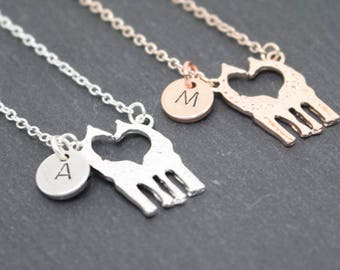 Personalised Giraffe Necklace, Animal Lover Gift, Animal Necklace, Personalised Jewellery, Christmas Gift, Rose Gold Giraffe, Silver Giraffe