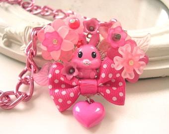 Kawaii Bunny Halskette mit Bogen in Hot Pink Lolita Fairy kei