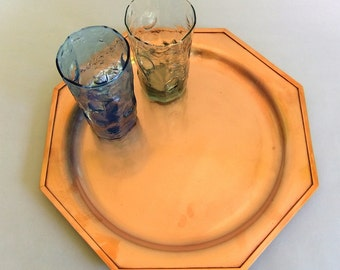 Vintage Solid Copper Serving or Bar Tray - Round Base, Octagonal, Barware, Rustic Modern Platter