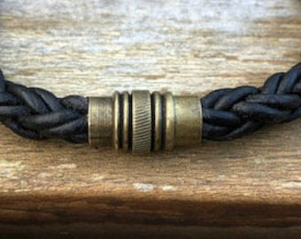 Antique Brass Magnetic Clasp For Leather Cord 17 x 10mm Round Leather Cord Magnetic Clasp Hole Size 7mm MC-21