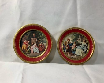 Vintage Italian Scene Men Women Courtyard Round Wood Frames Hand Painted Red Gold Made in Italy