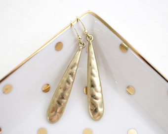Simple Gold Hammered Finish Long Tear Drop Earrings,Gold  Earrings, Bridesmaid Earrings, Bridal Shower Gift,Style No.6032