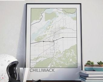 Chilliwack, BC Minimalist City Map Print