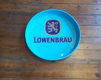 """Large Vintage """"Lowenbrau"""" Metal, Beer, Serving Tray"""